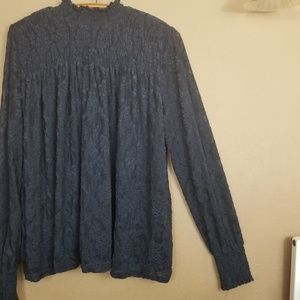 Anthropologie || navy lace sheer Deletta blouse
